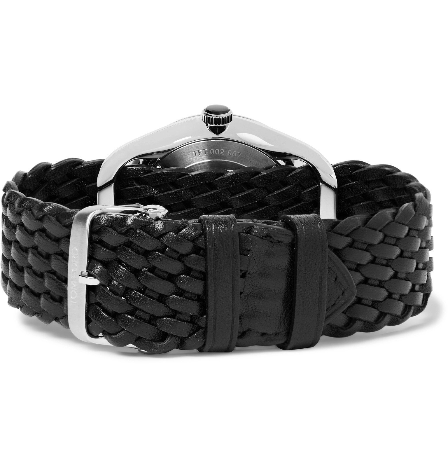 Tom Ford Timepieces - 002 38mm Stainless Steel and Braided Leather Watch - Black