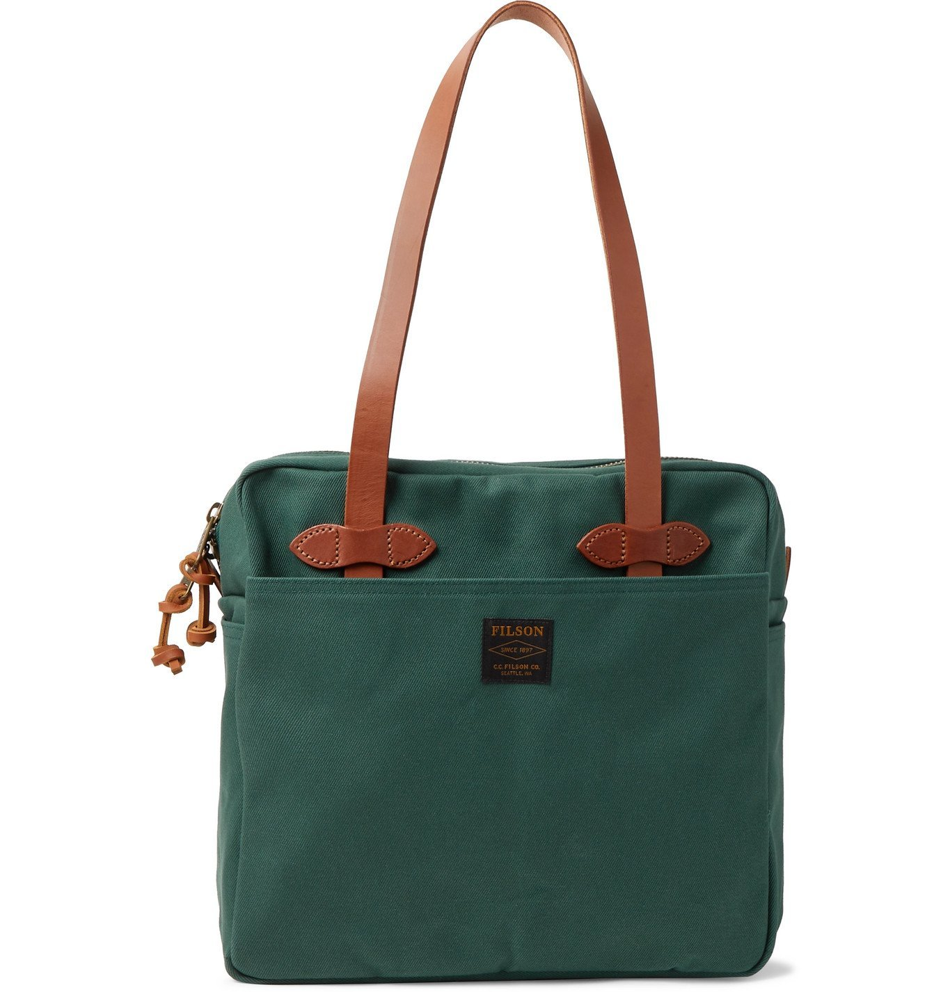 Filson - Leather-Trimmed Cotton-Twill Briefcase - Green