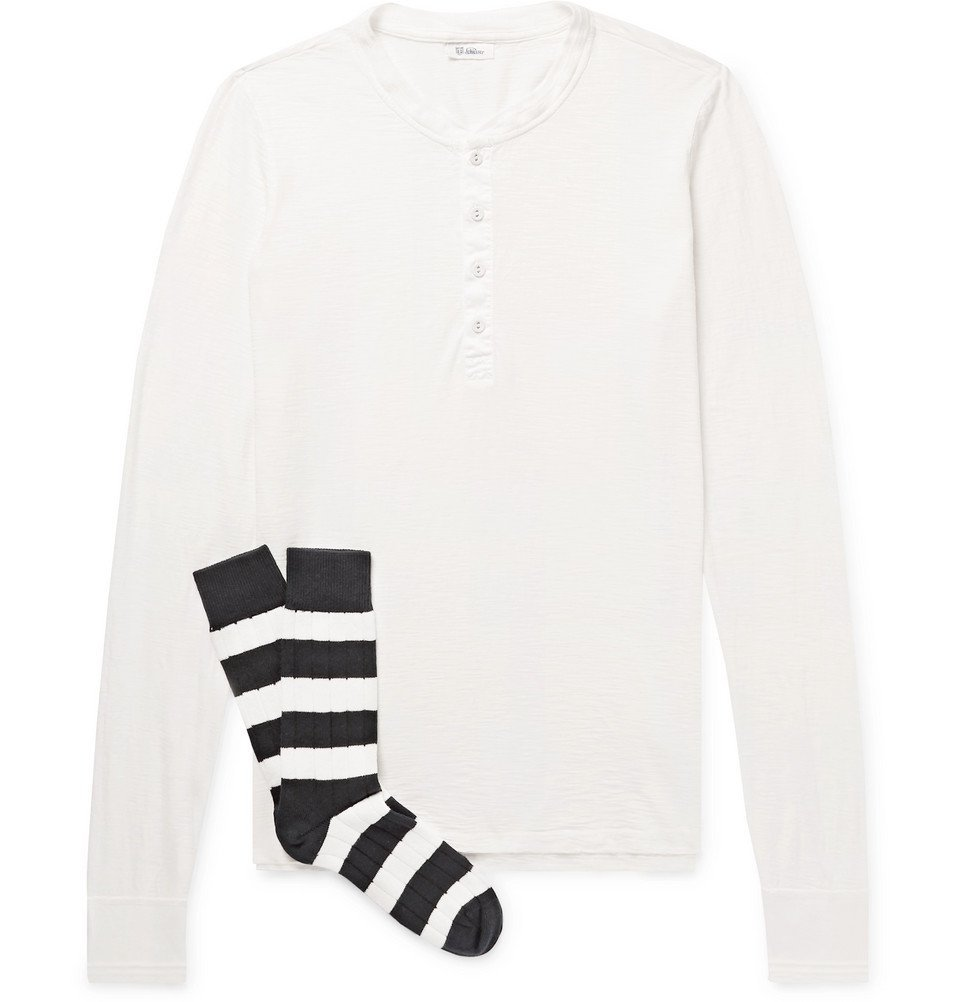 Schiesser - Hanno Slub Cotton-Jersey Henley T-Shirt and Stretch Cotton-Blend Socks Set - Men - White
