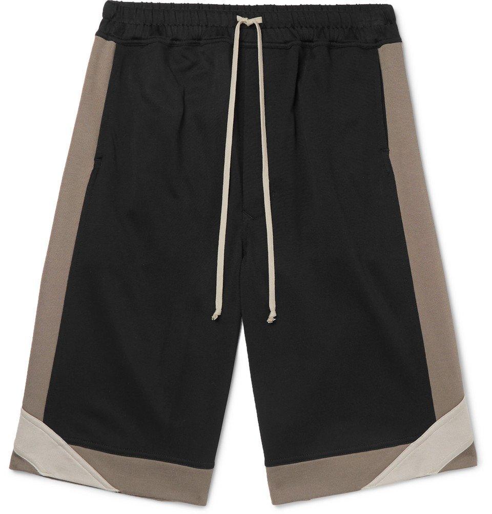 Photo: Rick Owens - Wide-Leg Loopback Cotton-Blend Jersey Shorts - Black