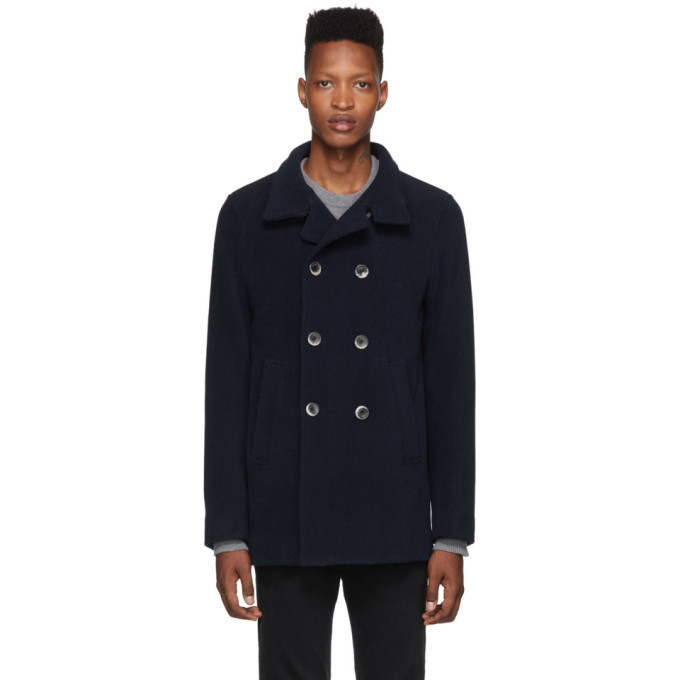 Photo: Herno Navy Thick Wool Double-Breasted Peacoat