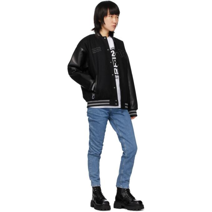 032c Black Logo Patches Varsity Jacket