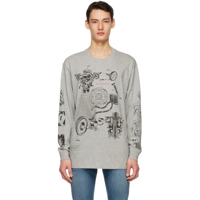 Photo: Givenchy Grey Oversized Schematics Long Sleeve T-Shirt