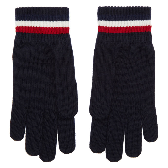 Photo: Moncler Navy Wool Corporate Gloves