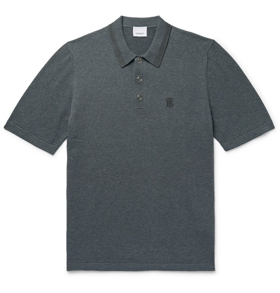 Photo: Burberry - Contrast-Tipped Mélange Cotton Polo Shirt - Charcoal