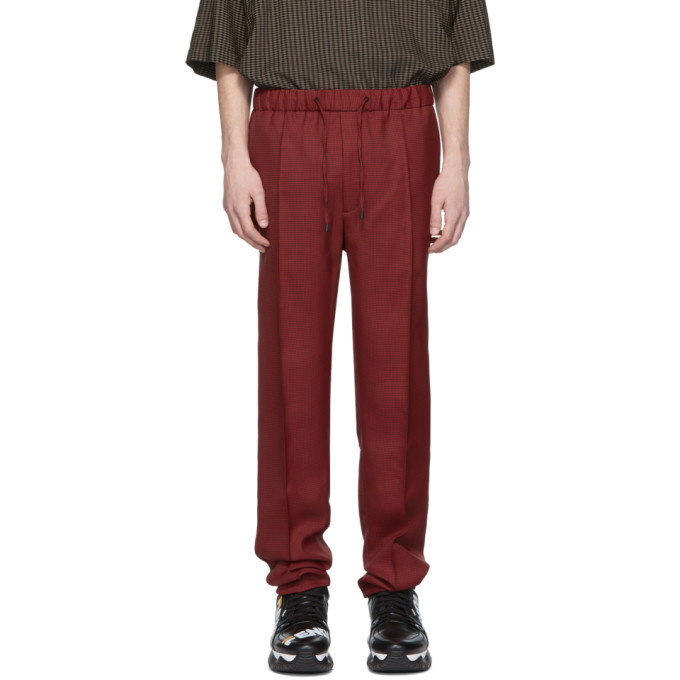 Fendi Red and Black Micro Houndstooth Trousers