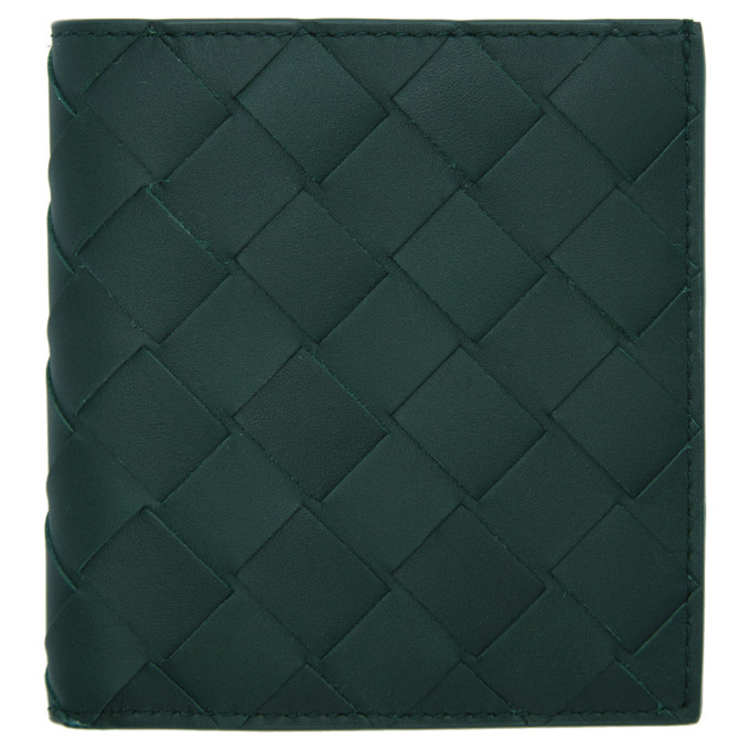 Photo: Bottega Veneta Green Small Intrecciato Wallet