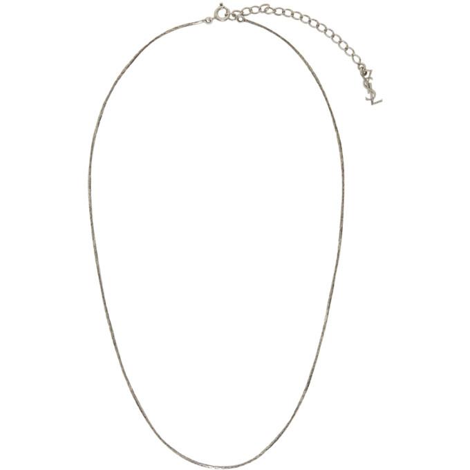 Photo: Saint Laurent Silver Short Logo Necklace