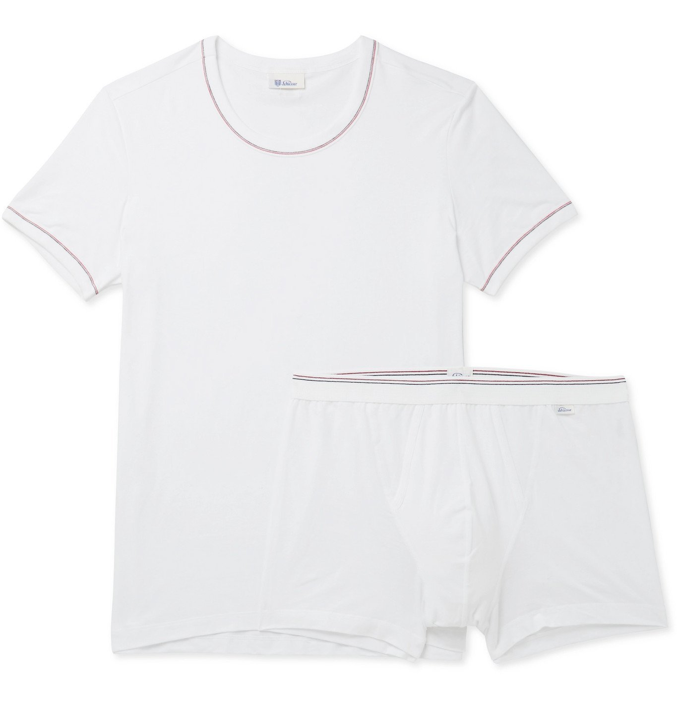 Schiesser - Two-Piece Stretch Cotton and Modal-Blend Set - White