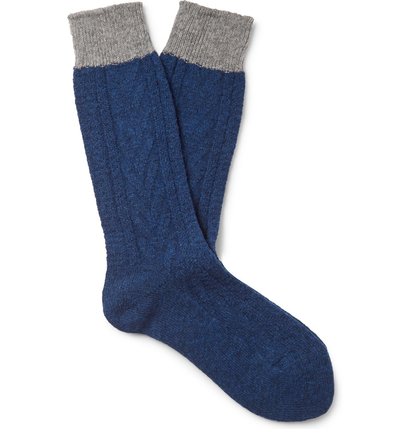 Photo: Mr P. - Colour-Block Ribbed Wool-Blend Socks - Blue