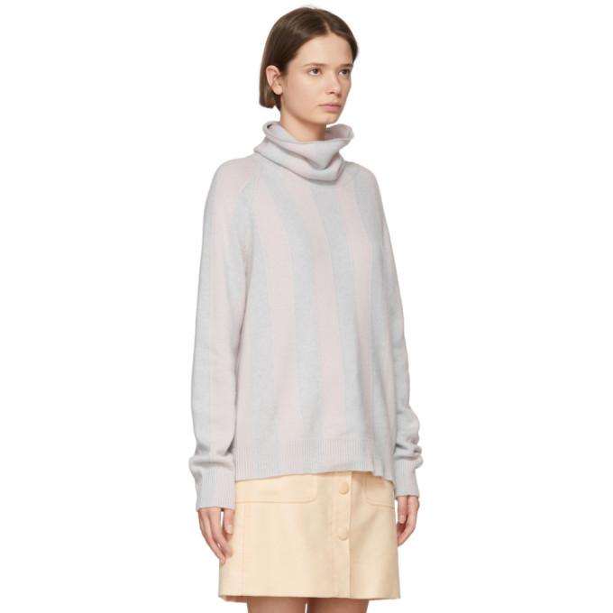 Bottega Veneta Grey and Pink Cashmere Turtleneck