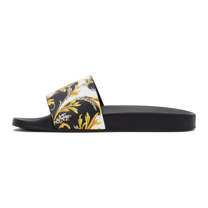 Versace Black and Gold Barocco Slides
