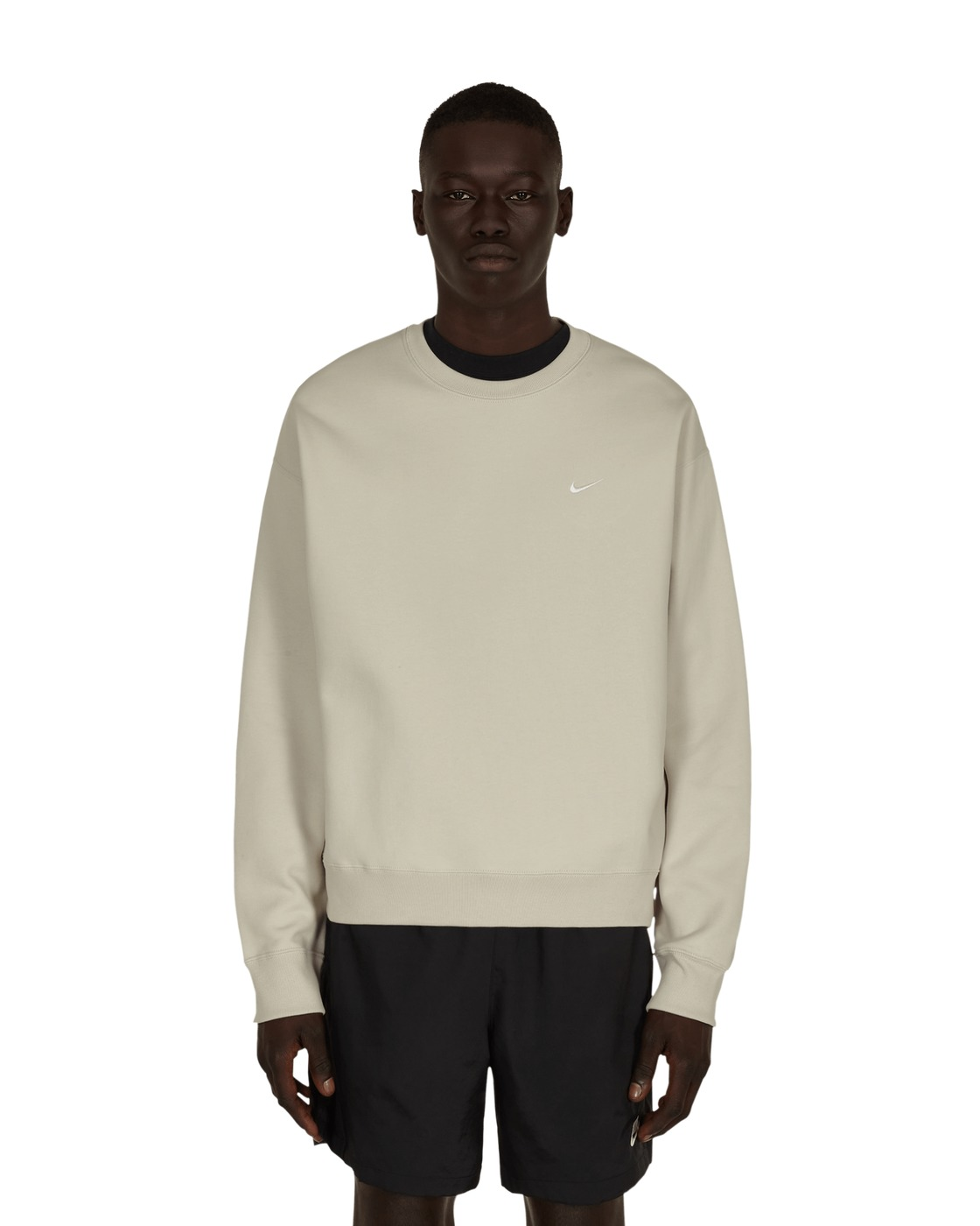 Photo: Nike Special Project Solo Swoosh Crewneck Sweatshirt Light Bone/White