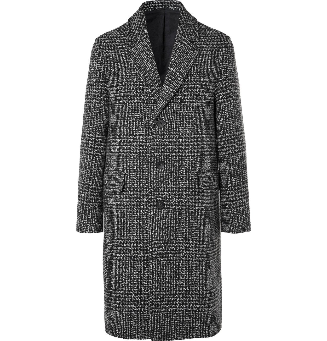 Photo: Mr P. - Prince of Wales Checked Virgin Wool-Blend Overcoat - Black