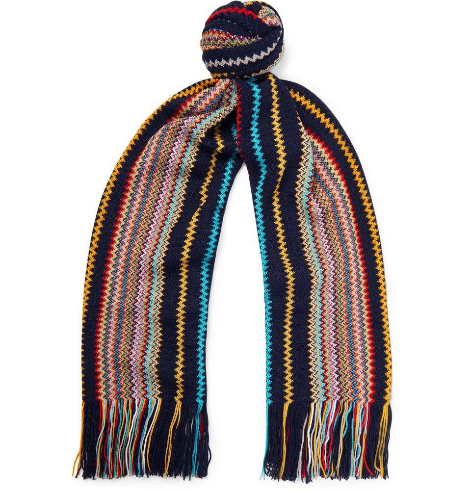 Photo: Missoni - Fringed Striped Wool-Blend Scarf - Navy