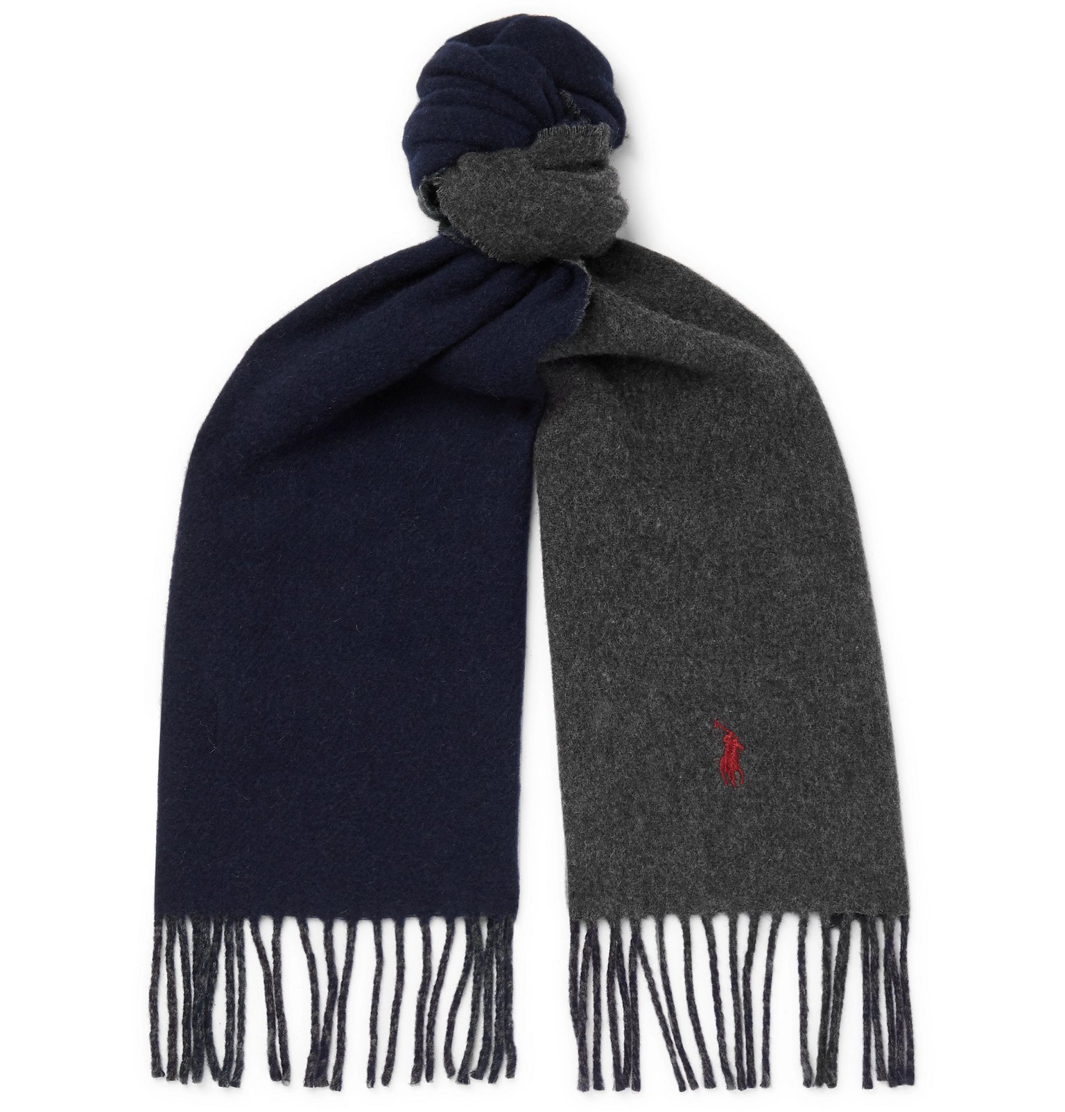 Photo: Polo Ralph Lauren - Reversible Fringed Wool-Blend Scarf - Blue
