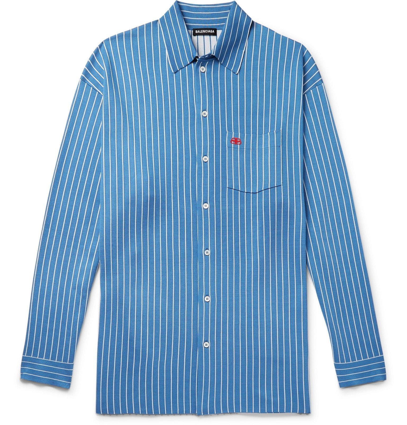 Photo: Balenciaga - Oversized Logo-Embroidered Pinstriped Silk-Blend Shirt - Blue