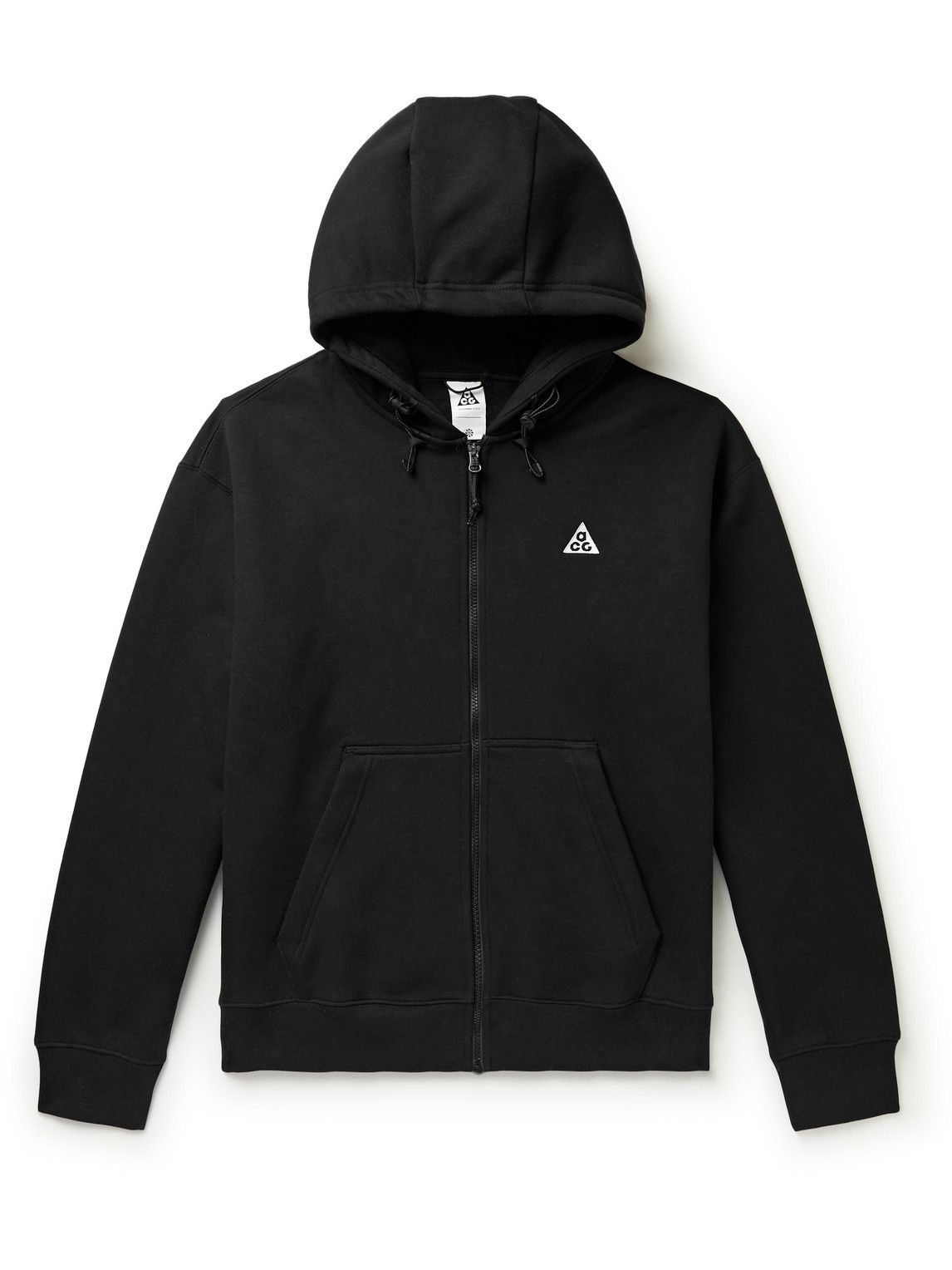 Photo: Nike - NRG ACG Logo-Embroidered Cotton-Blend Jersey Zip-Up Hoodie - Black