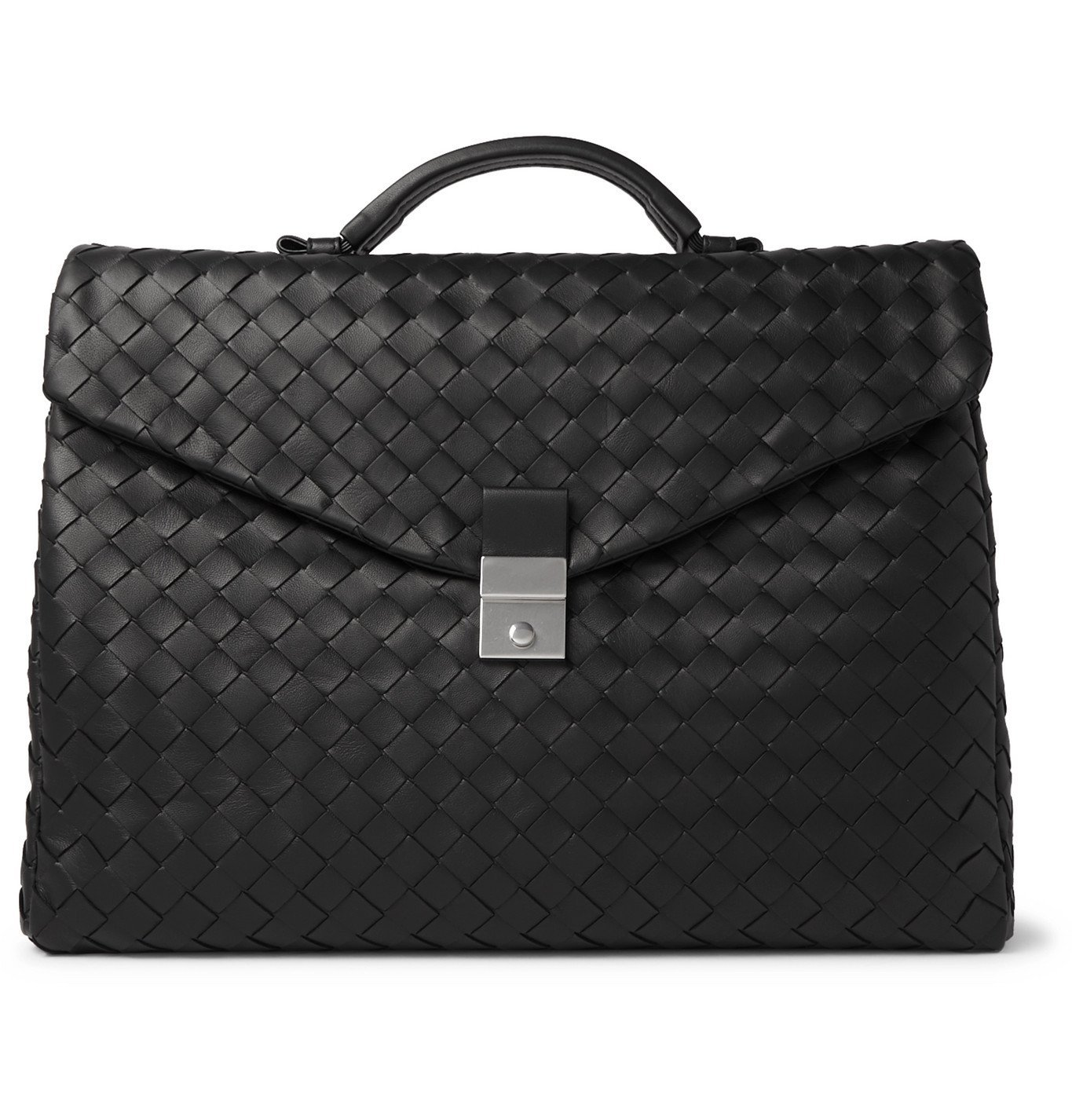 Photo: Bottega Veneta - Intrecciato Leather Briefcase - Black