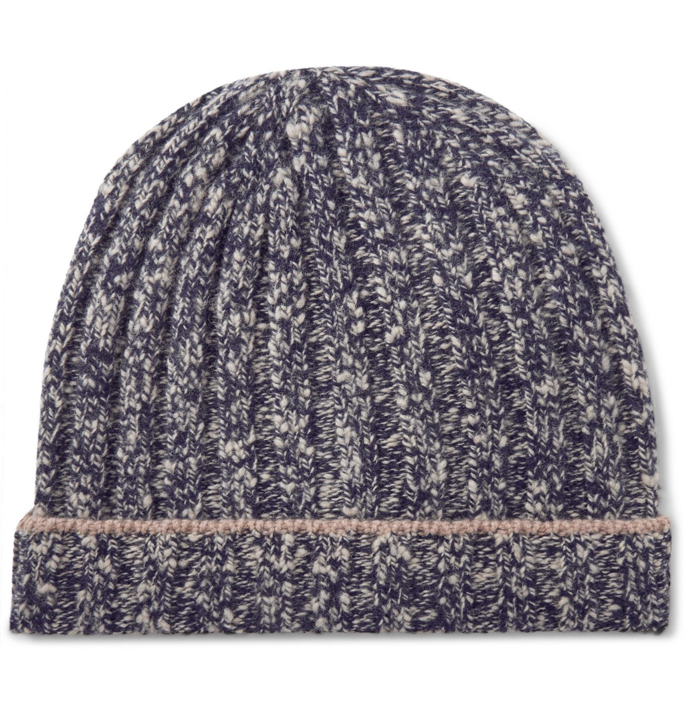 Photo: Brunello Cucinelli - Contrast-Tipped Ribbed Mélange Wool and Cashmere-Blend Beanie - Blue