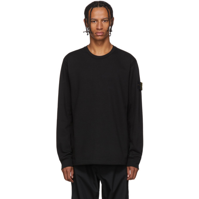 Photo: Stone Island Black Crewneck Long Sleeve T-Shirt