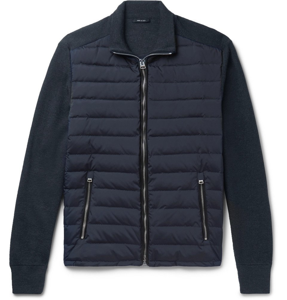 Photo: TOM FORD - Ribbed Wool and Quilted Shell Down Jacket - Midnight blue