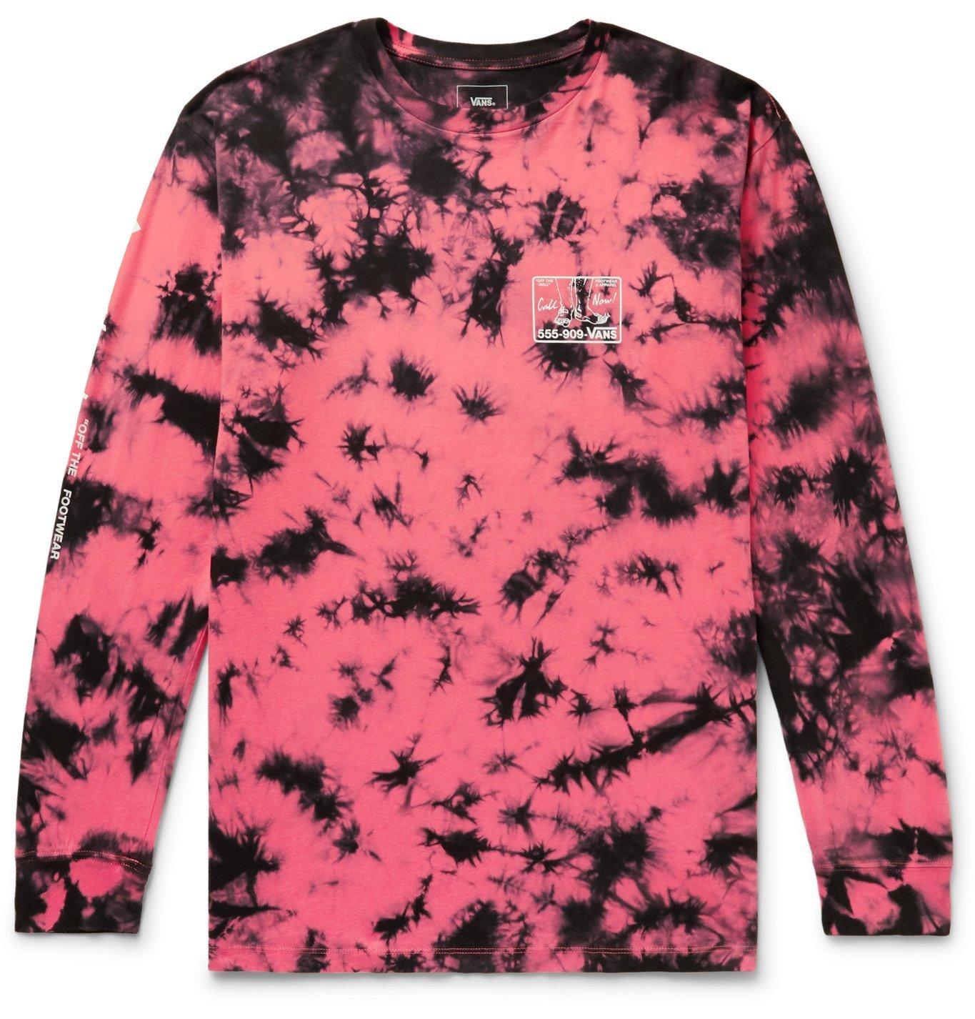 Photo: Vans - Man I Need Vans Logo-Print Tie-Dyed Cotton-Jersey T-Shirt - Pink