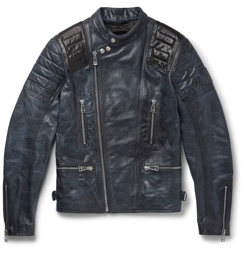 Photo: Belstaff - Burnished-Leather Biker Jacket - Men - Midnight blue