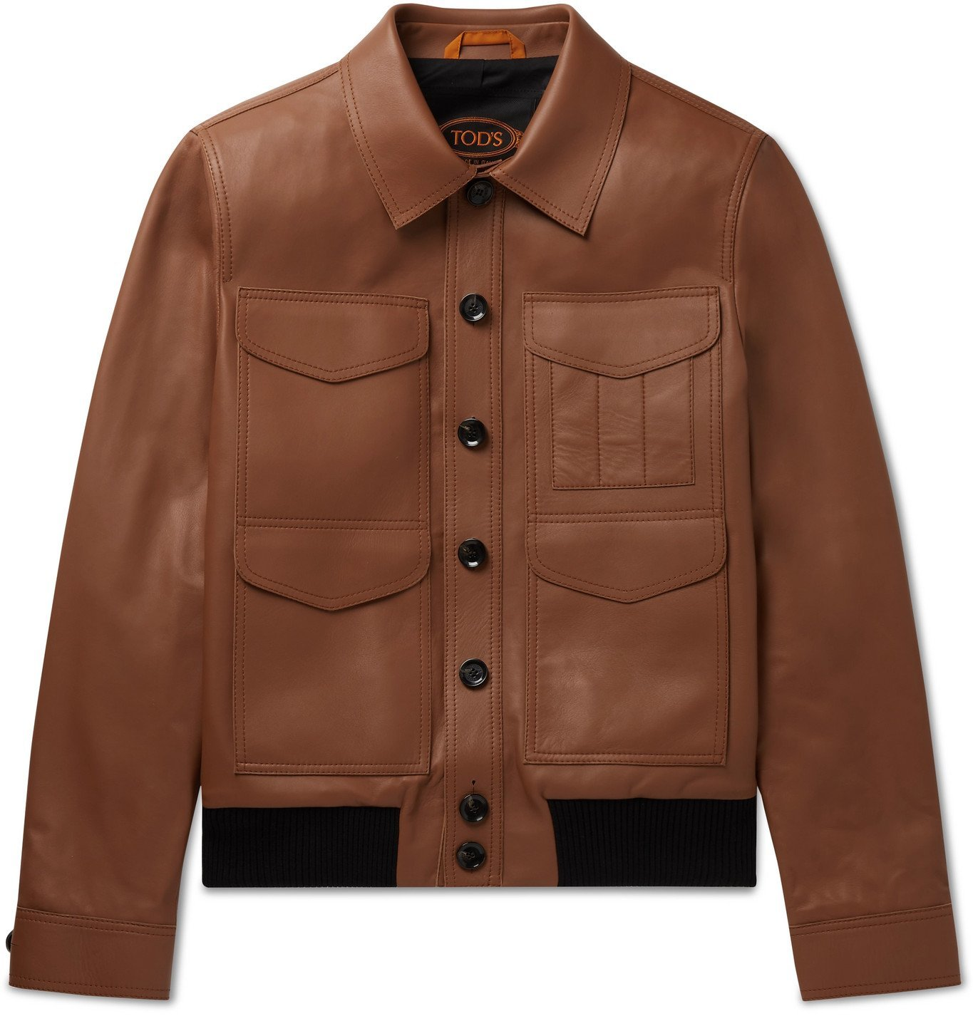 Photo: TOD'S - Leather Bomber Jacket - Brown