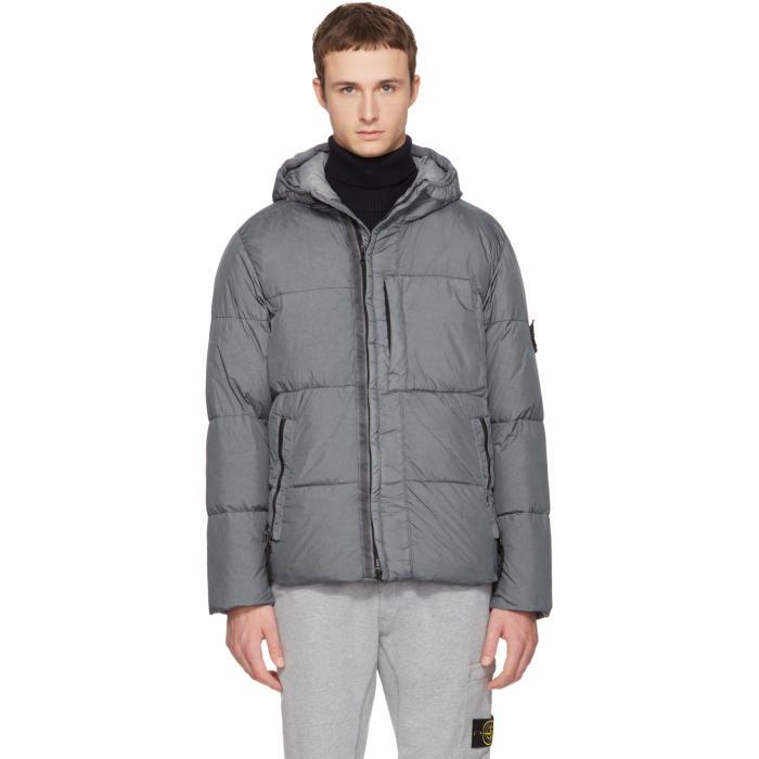 Photo: Stone Island Grey Hooded Down Jacket