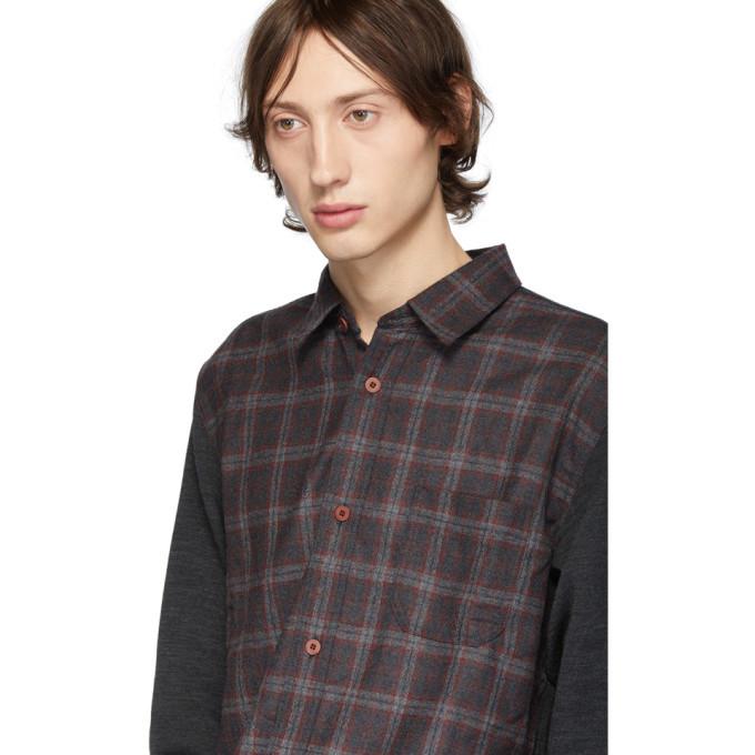 Junya Watanabe Grey Wool Panelled Flannel Shirt