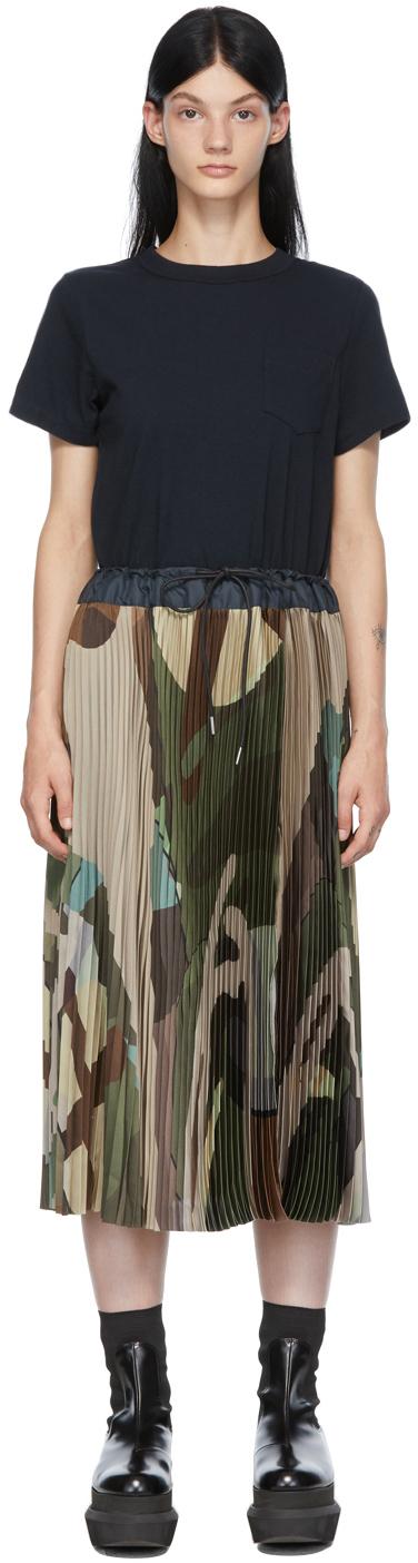 Sacai Navy & Green KAWS Edition Camo Dress
