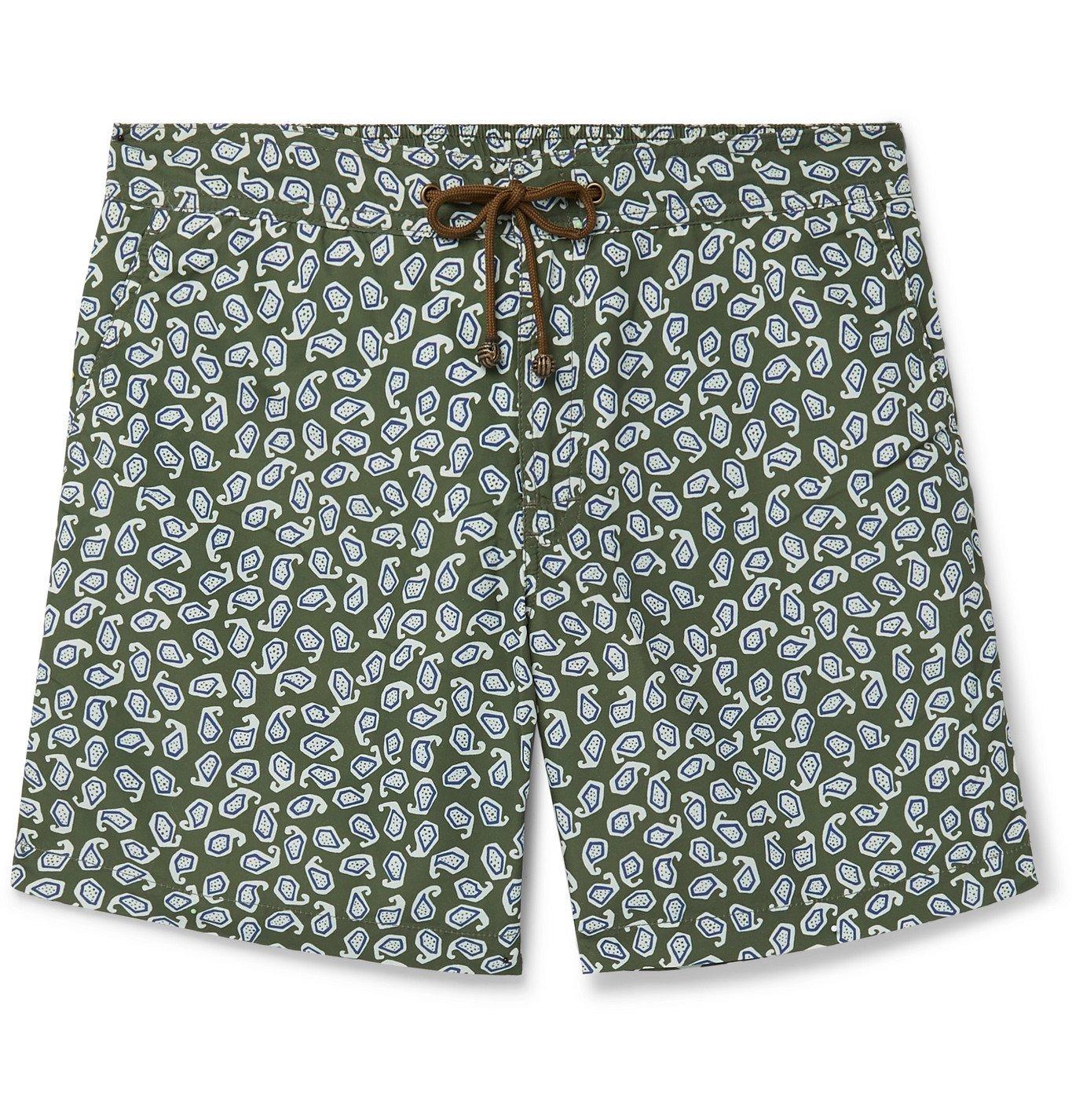 Photo: Thorsun - Charvet Mid-Length Paisley-Print Swim Shorts - Green