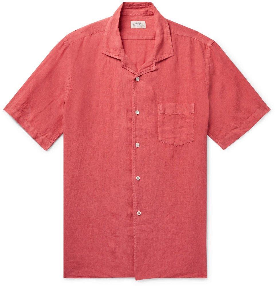 Photo: Hartford - Palm Camp-Collar Linen Shirt - Red