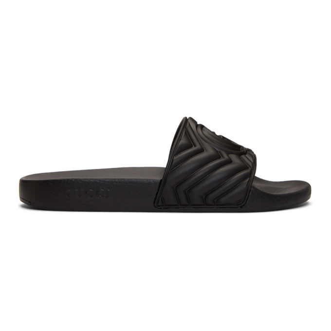 Photo: Gucci Black Quilted GG Pool Slides