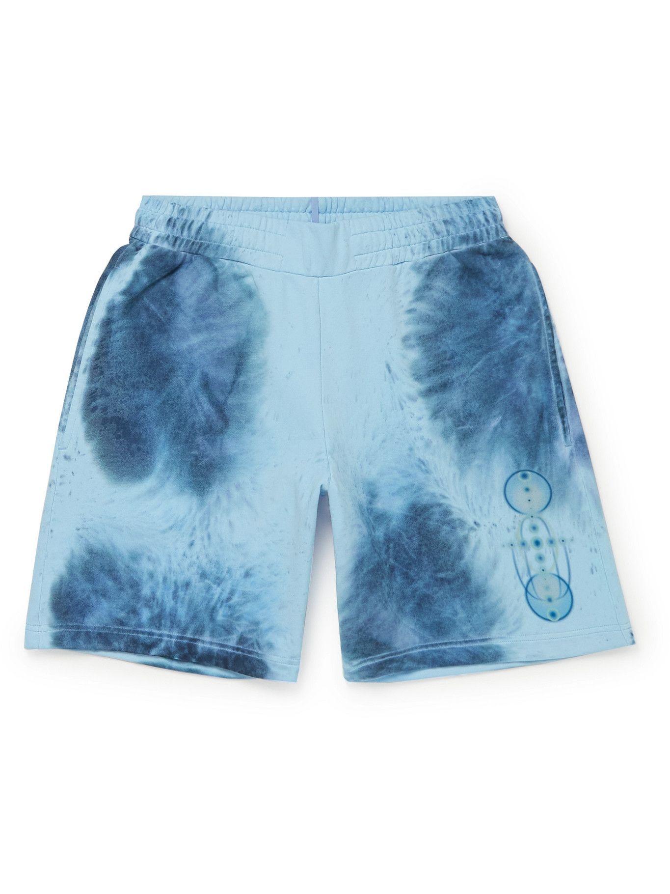 Photo: MCQ - Breathe Wide-Leg Logo-Appliquéd Printed Cotton-Jersey Shorts - Blue