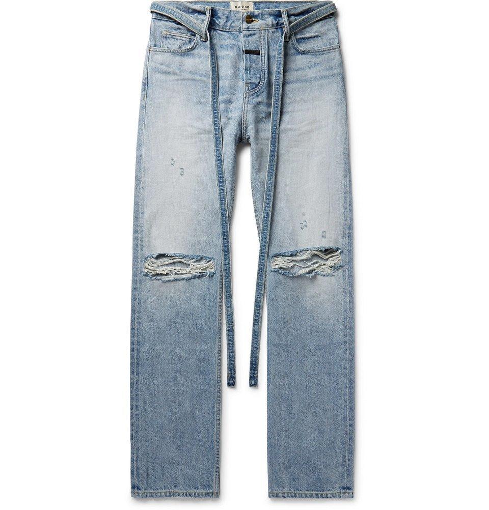 Photo: Fear of God - Belted Distressed Selvedge Denim Jeans - Light denim