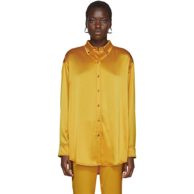 Photo: Sies Marjan Yellow Crinkled Satin Kiki Oversized Shirt