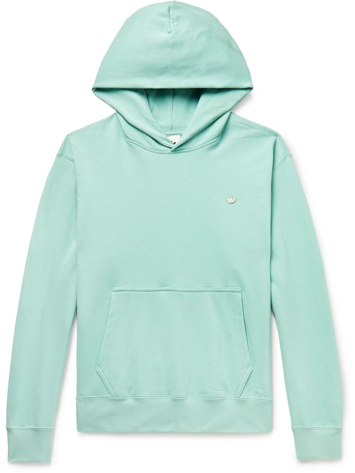 Photo: ADIDAS ORIGINALS - Adicolor Premium Logo-Appliquéd Organic Loopback Cotton-Jersey Hoodie - Green
