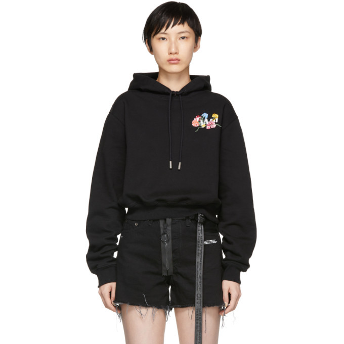 Photo: Off-White Black Flowers Cropped Hoodie