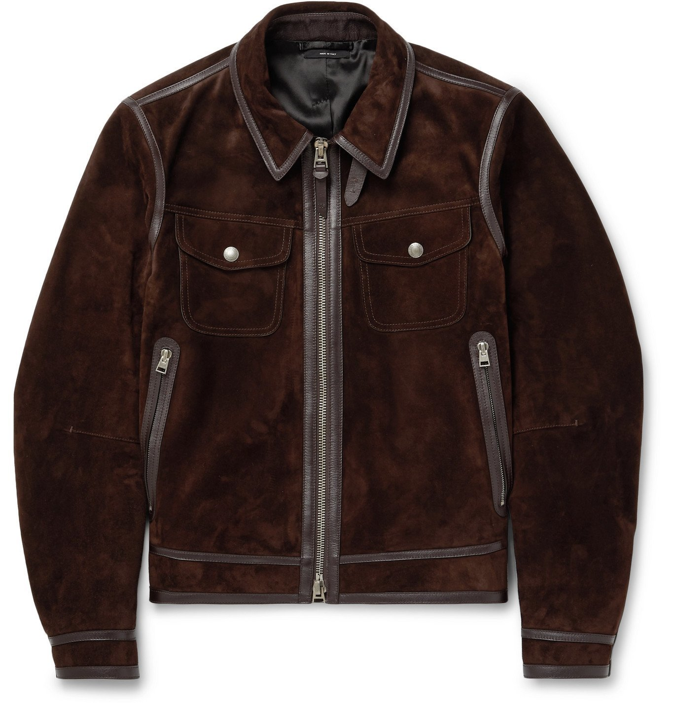 Photo: TOM FORD - Slim-Fit Leather-Trimmed Suede Jacket - Brown