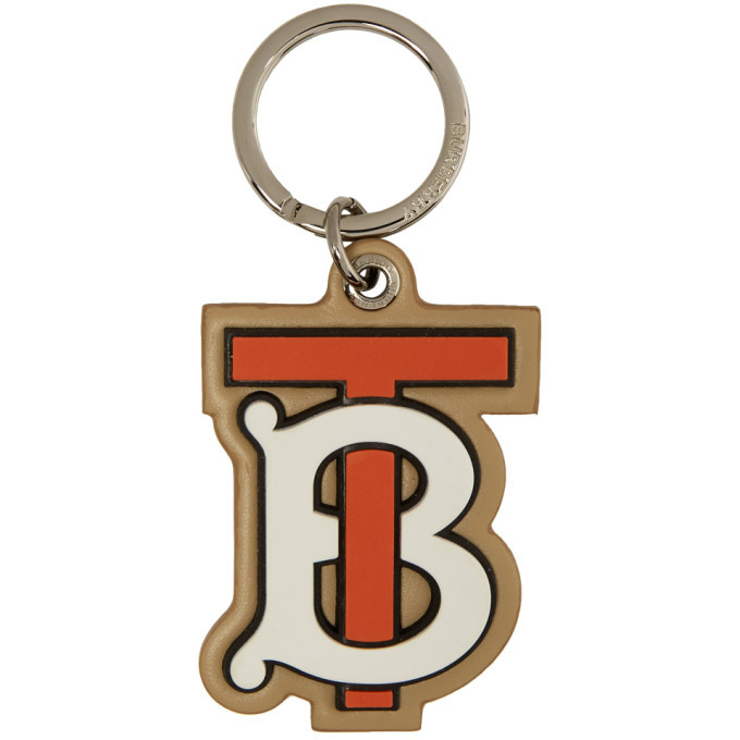 Photo: Burberry Beige and Red Rubber Novelty Logo Keychain