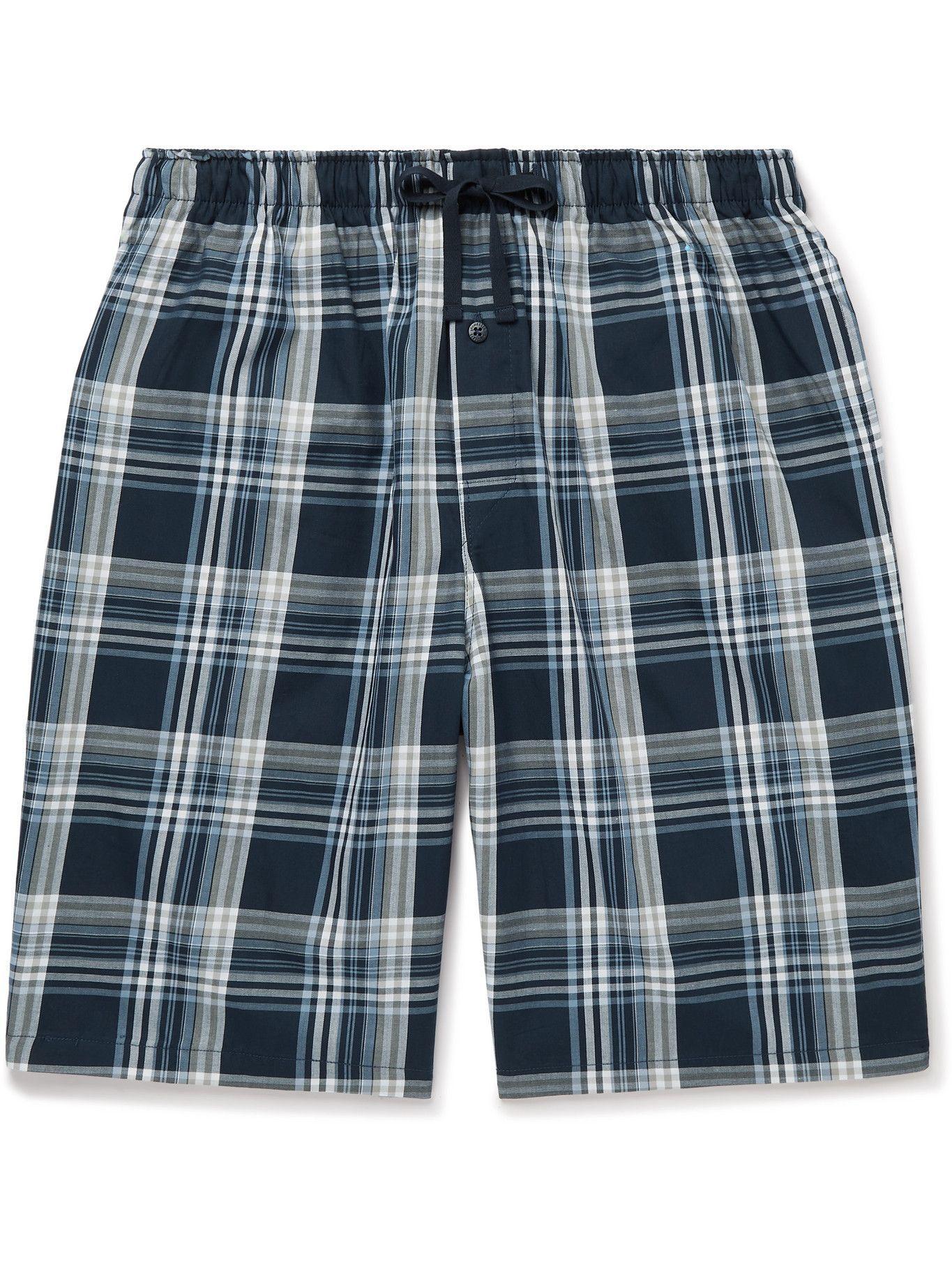 Photo: Schiesser - Checked Cotton-Poplin Pyjama Shorts - Blue