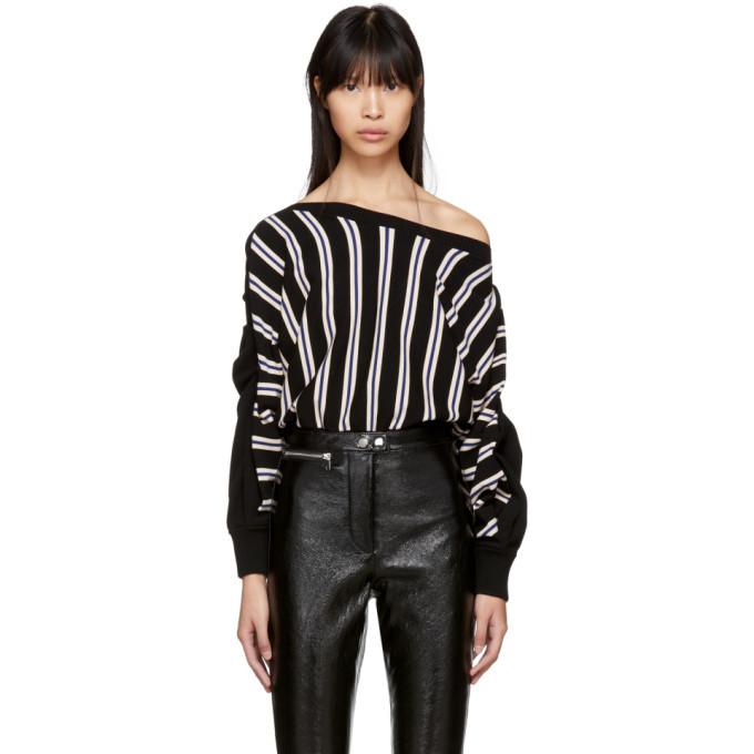3.1 Phillip Lim Black Three-Quarter Sleeve Striped Pullover