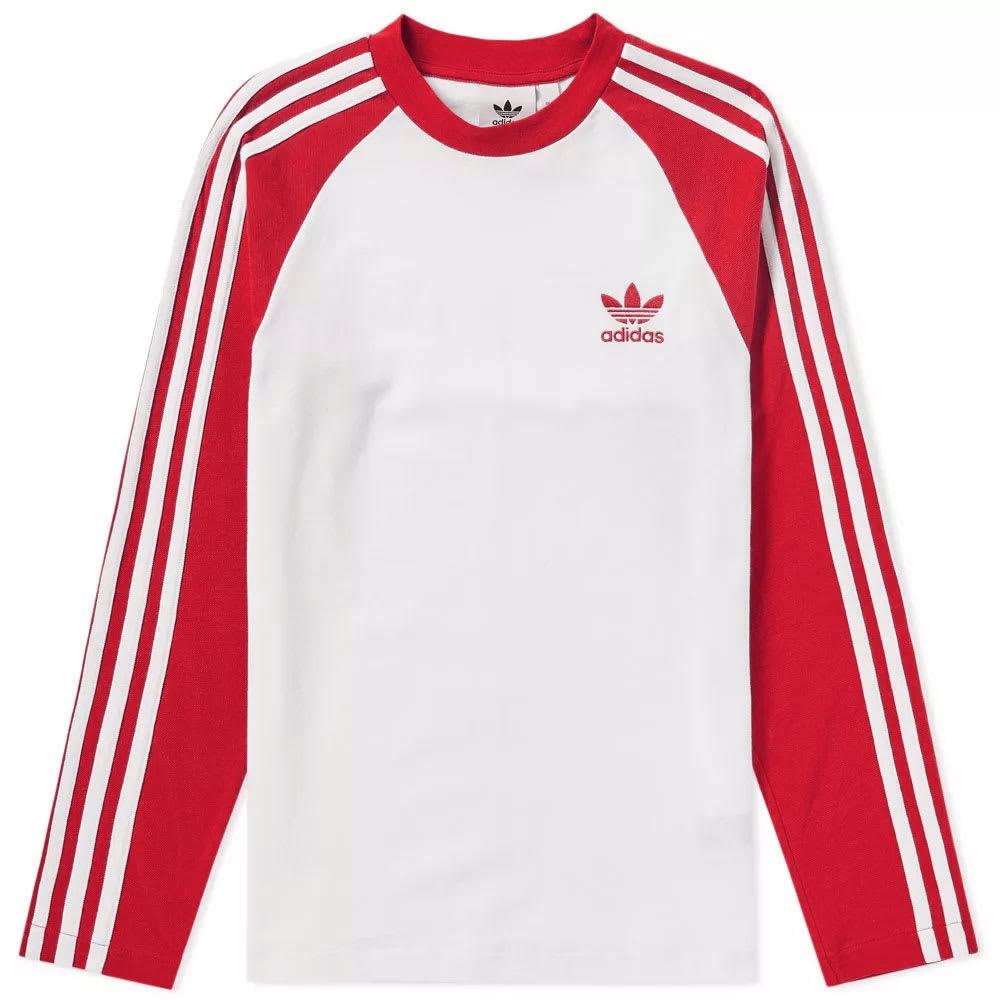 Adidas Long Sleeve 3 Stripe Pique Tee Red adidas