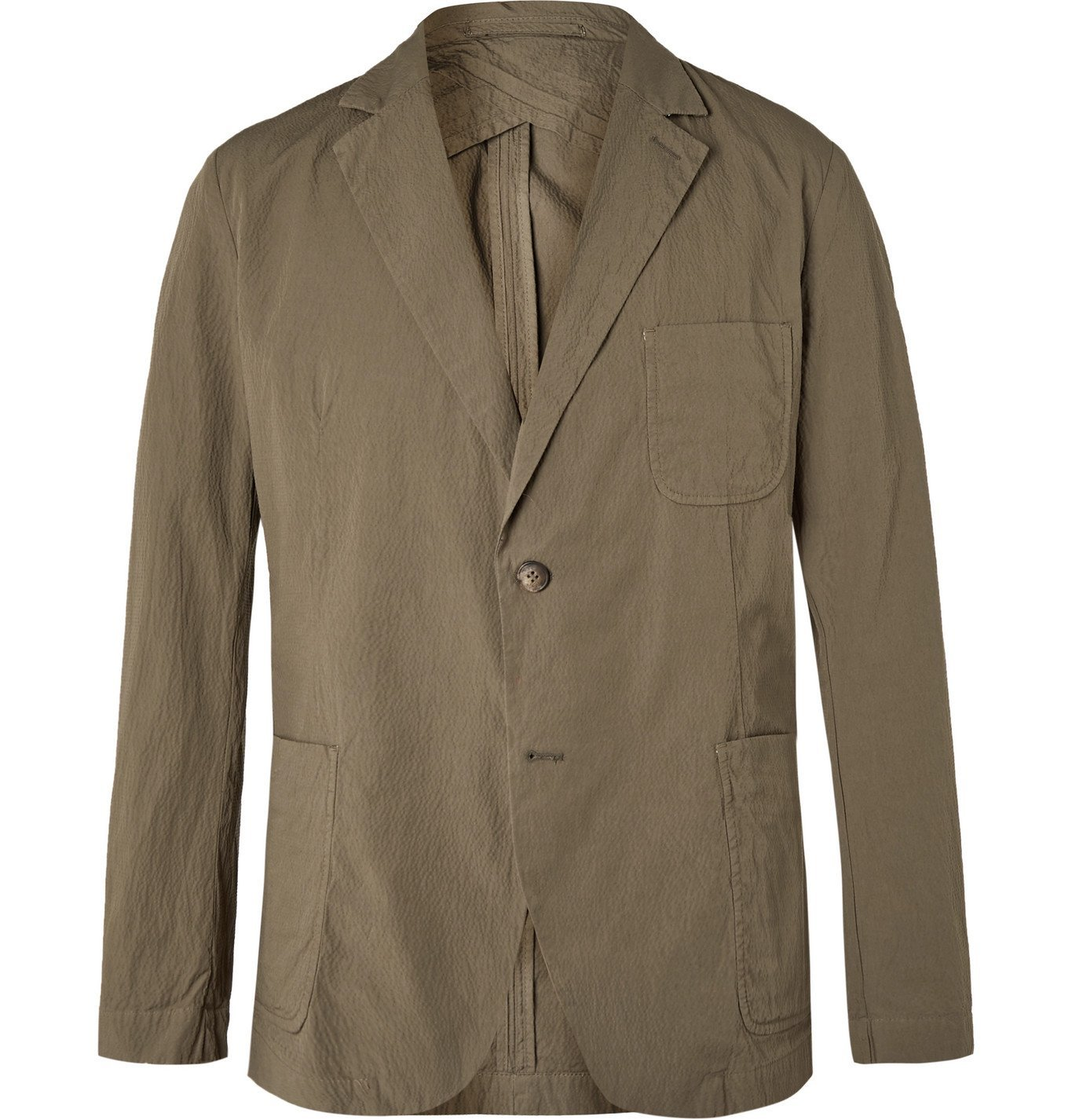 Photo: Frescobol Carioca - Johannes Huebl Unstructured Cotton-Blend Seersucker Suit Jacket - Green