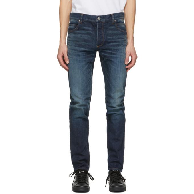Photo: Balmain Blue Tapered Raw Vintage Jeans