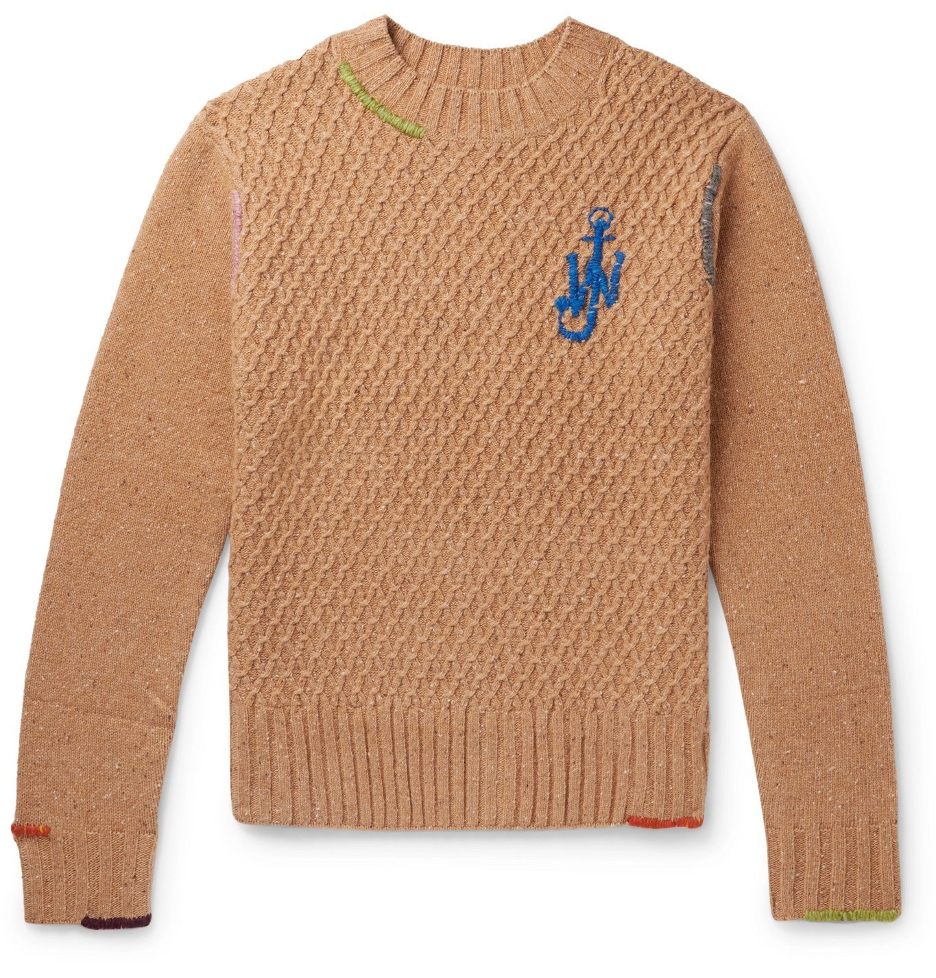 Photo: JW Anderson - Embroidered Textured Wool-Blend Knitted Sweater - Brown