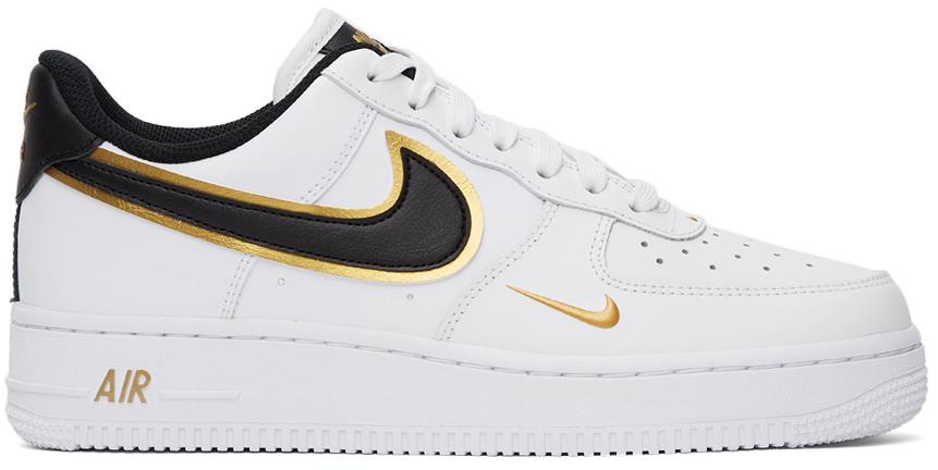 Photo: Nike White Air Force 1 '07 LV8 Metallic White Gold Sneakers