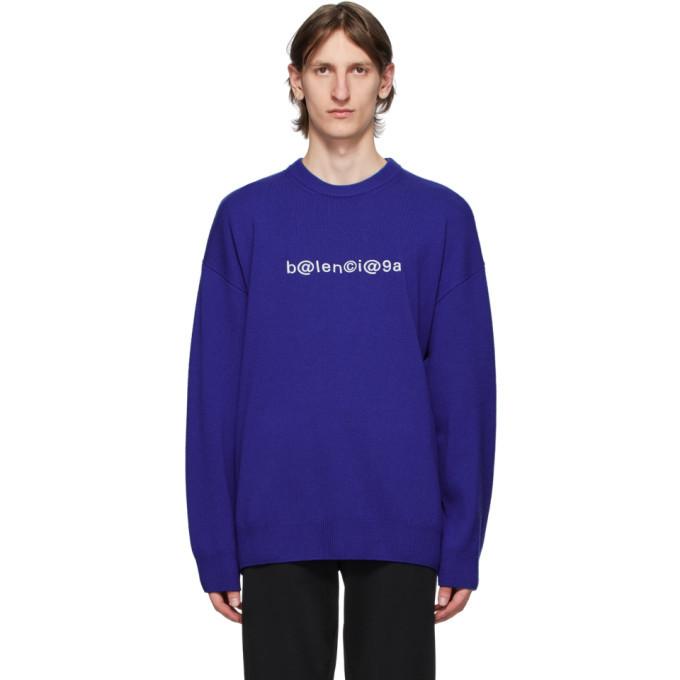 Photo: Balenciaga Blue Logo Crewneck Sweater